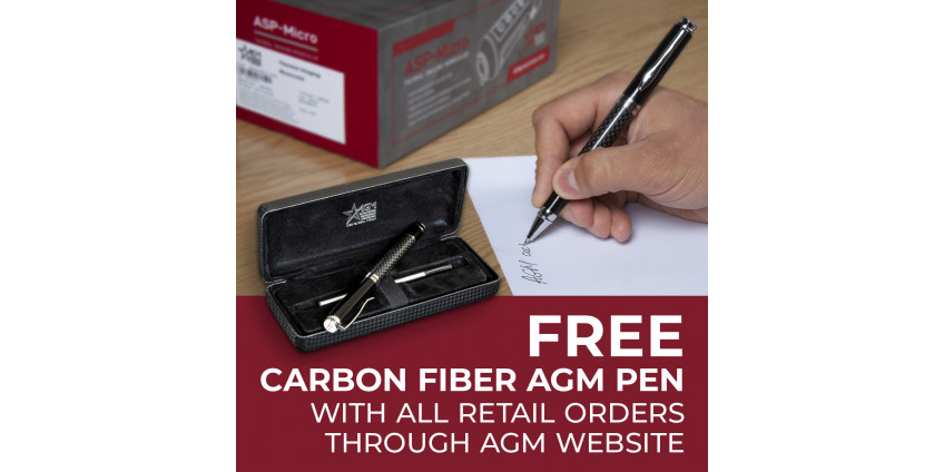 FREE CARBON FIBER AGM PEN with all Retail orders